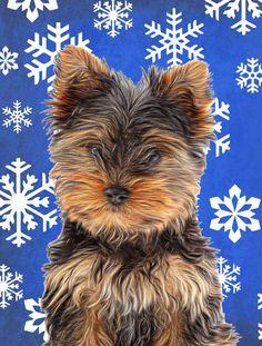 Winter Snowflakes Holiday Yorkie Puppy / Yorkshire Terrier Flag Garden Size KJ1181GF