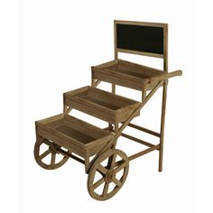Level distressed wood planter with wagon wheels and chalkboard.Features:This item can be used outside, but it is recommended ...