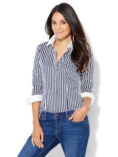 Shop 7th Avenue Design Studio - Madison Stretch Shirt - French Cuff - Stripe…