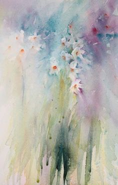 Narcissi painting in soft watercolour Jean Haines