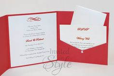 Handmade wedding invitation - Invitation in the middle with postcard style RSVP card and Wishing Well card placed in the pocket. A little diamante bling for added style.  Matching red metallic envelope included. Available in a variety of colours.