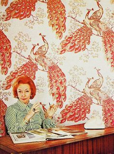 Florence Broadhurst featured amongst some of her most iconic imagery of peacocks. I love this picture as her flamboyant red hair blends into the wallpaper almost to highlight that her work was an extension of personality. Peacock Pattern, Peacock Design, Peacock Print, Pattern Art, Never Stop Dreaming, Florence Broadhurst, Flamboyant, Making Waves, Print Wallpaper