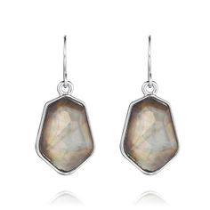 """Chloe+Isabel: Undreamed Shores Collection Spring 2014 Ocean Lace Drop Earrings $28 Sleek + petite, these modern drop earrings are an everday essential. Luminescent gray mother-of-pearl inlay, set behind a faceted clear cabochon, makes this the perfect pair to play up your everyday denim.  shiny rhodium-plated nickel-free plating 1.25"""" approx. drop length french wire gray mother-of-pearl inlay www.chloeandisabel.com/boutique/moniquejohnson"""