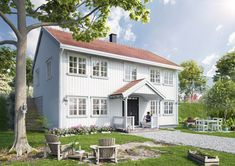 Sørlandshus skråtomt 2 etasjer