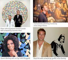 Celeb art collectors. Elton John, David Bowie, Brad Pitt and Oprah Winfrey
