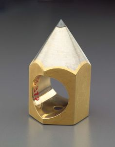 """""""Pencil Ring #1"""" by Louis Mueller. 18 kt white, yellow gold and hematite."""