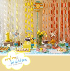 Sunshine and Blue Skies Party. Hand- made Ombre and Pinata backdrop