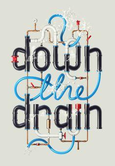 Down the Drain by Alex Beltechi, via Behance