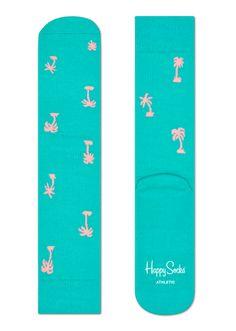 Modische Sportsocken in Grün mit Palmen in Pink. Kaufen Sie Socken für Herren und Damen online bei Happy Socks.