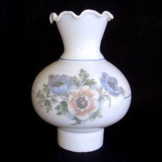 "Hand painted Small GWTW Hurricane Parlor Milk Glass Lamp Shade Globe Flowers  8"""