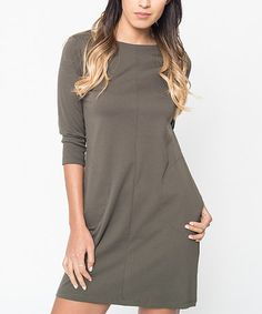 Another great find on #zulily! Olive Pocket Shift Dress #zulilyfinds