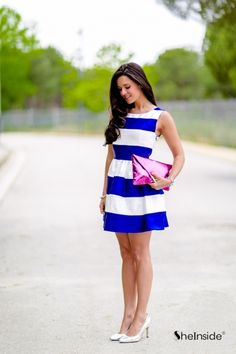 Blue and white Scoop Neck Dress**