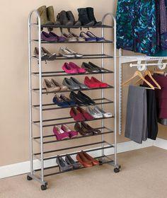 10 Tier Rolling Shoe Boot Rack Bedroom College Home Apartment Office Organizer | eBay