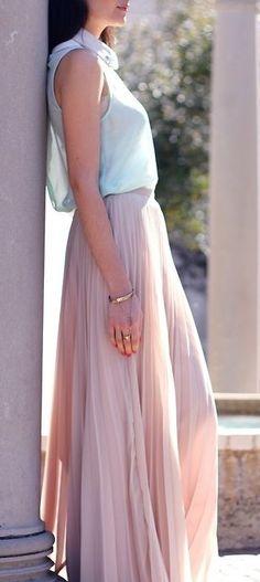 Long light pink pleated skirt | Spring Fashion | Pinterest | Pink ...
