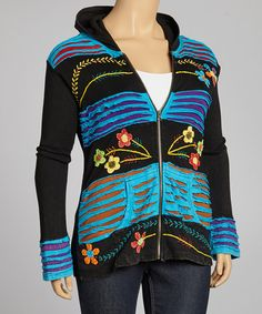 Take a look at this Black & Blue Sprouting Daisies Razor-Cut Zip-Up Hoodie - Plus by Rising International on #zulily today!