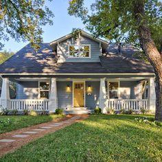 Blue gray house-- yellow door?