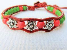 Desert Cactus Flowers  Wrap Bracelet Handmade Beaded by H2HJewelry