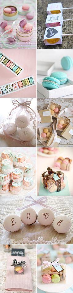 pastel macaron wedding favors
