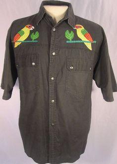 Vintage PIERREGI Sportswear Shirt Mens Black Parrots Floral  Large FREE SHIP #PierregiSportswear #Hawaiian