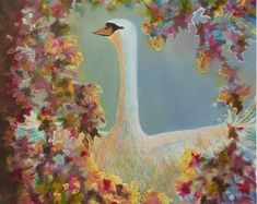 """With a silvery duck-egg background, Albireo Swan Star is surrounded by a burst of dusky rose, mulberry and gold and is gently lit with a warm glow. Each colour burst is carefully outlined in silver, gold or mulberry.  This is a 12x12"""" square premium quality giclée art print from an original oil painting by UK artist Ellisa Hague.  Other pieces in this series are available, please visit www.EllisaHagueOriginal.com or visit the Etsy Shop to view them."""