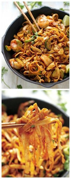 Tasty Recipe Pins: 20-Minute Sriracha Shrimp and Zucchini Lo Mein - everyone LOVES this hearty, healthy, SUPER easy noodle dish! Packed with protein hearty shrimp and zucchini - YUM!