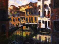 """Venice, Italy, Quiet Reflections II – original oil Itay painting by artist Christopher Clark <span class=""""edit-link btn btn-inverse btn-mini""""><a class=""""post-edit-link"""" href=""""http://www.christopherclark.com/wp-admin/post.php?post=6957&action=edit"""" title=""""Edit"""">Edit</a></span>"""