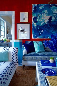 Living room in red & blue