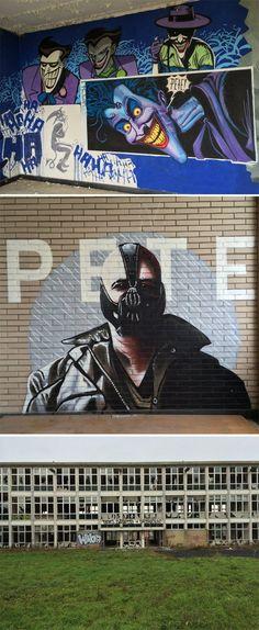 Insane Batman Graffiti Discovered in Abandoned Building