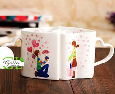 Marry Me Matching Heart Shape Cup Couple Coffee Mug