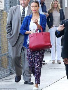 Talk show appearance: But Alba wore a far more conservative ensemble while arriving at the Hollywood studio
