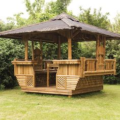An Introduction To Backyard Gazebos - Home Gazebo Pergola With Roof, Pergola Plans, Diy Pergola, Covered Pergola, Outdoor Gazebos, Backyard Gazebo, Outdoor Structures, Bamboo House Design, Bamboo Building