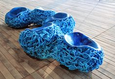 Blue Cable Rope chairs by Tom Price