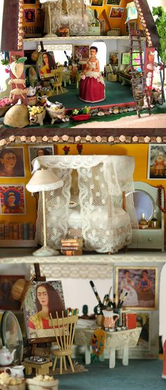 Cuban-American artist Elsa Mora created this lovely miniature doll house featuring artist Frida Kahlo