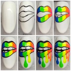 Pop Art Nails, Neon Nail Art, Neon Nails, Nail Art Diy, Diy Nails, Swag Nails, Cute Nails, Nail Art Designs Videos, Nail Designs