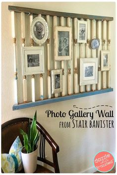 Old Banister photo gallery wall