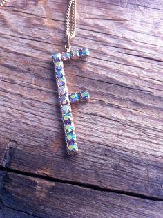 vintage rhinestone pendant / letter F / FLORENCE by JohannaVintage, $45.00
