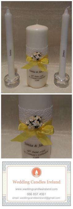Sunny Yellow Personalised Candle, Unity Candle for your Wedding Ceremony