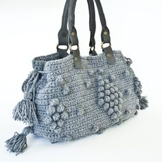 Grey crochet bag ...I love this.