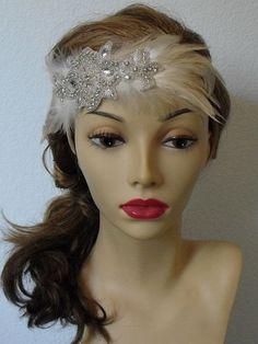 Feather Rhinestone Flapper headband by yanethandco, $65.00