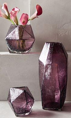 purple faceted gem vases