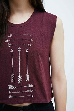 Part Fiction Native Arrow Crop Tank in Burgundy - Urban Outfitters