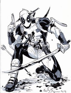Drawing Superhero Deadpool by ReillyBrown - Drawing Cartoon Characters, Comic Drawing, Marvel Characters, Comic Books Art, Comic Art, Deadpool Art, Marvel Tattoos, Deadpool Wallpaper, Marvel Drawings