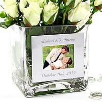 Showcase your favorite photo in this exclusive personalized glass photo vase. The vase can be personalized with up to 24 characters,. Engraved Photo Frames, Metal Photo Frames, Personalized Photo Frames, Square Glass Vase, Clear Glass Vases, Wine Glass, Photo Centerpieces, Centerpiece Ideas, Picture Engraving
