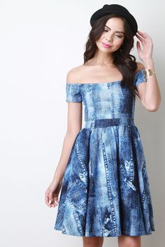 Description This denim print dress features an off the shoulder neckline, short sleeves, high waisted cinched seam and finished with a skater flare skirt.Accessories sold separately. Made in U.S.A. 95% Polyester, 5% Spandex. Measurement Size Bust Waist Hip Length Sleeve S 13 12 18 35 4 M 14 13 19 36 4.5 L 15 14 20 37 5 | Shop this product here: spree.to/7fu | Shop all of our products at http://spreesy.com/KapKaDesign | Pinterest selling powered by Spreesy.com