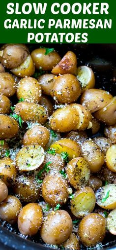 Slow Cooker Garlic Parmesan Potatoes are wonderfully seasoned and cook up so soft and creamy in the crock pot. They are the perfect side for almost any meal. Slow Cooker Garlic Parmesan Potatoes, Slow Cooker Potatoes, Crock Pot Potatoes, Crockpot Roasted Potatoes, Slow Cooker Casserole, Crock Pots, Crock Pot Slow Cooker, Health Slow Cooker Recipes, Potato Recipes Crockpot