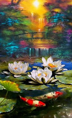 Original fine art - Pond- contemporary wall art oil palette knife painting by Dmitry Spiros Watercolor Paintings, Original Paintings, Oil Paintings, Palette Knife Painting, Contemporary Wall Art, Oil Painting On Canvas, Painting Clouds, Pond Painting, Lotus Painting