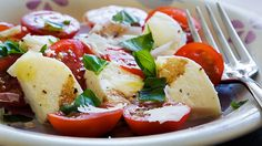 Fresh Tomato & Mozzarella Salad  My cousin shared this recipe with me years ago and I sadly lost it! I can't wait to make it again! Completely addicting!!!!