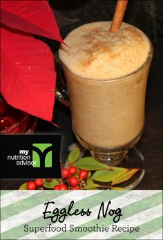 Eggless Nog Superfood Smoothie Recipe! Extremely healthy superfood smoothie. Contains over 10 different superfoods in the Ancient Delight Superfood Mix we are using. Click on the image for the recipe. #mnasmoothie