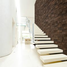 Forbo linoleum floors with the Marmoleum brand are made from natural raw materials. This makes Marmoleum the most sustainable flooring choice. Metallic Wall Tiles, Cork Wall, Staircase Design, Staircase Architecture, Aspen, New Homes, Indoor, House Design, Wall Design
