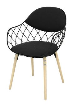 Pina Padded Armchair   Fabric / Metal U0026 Wood Legs Black Fabric / Natural  Wood Legs By Magis   Design Furniture And Decoration With Made In Design